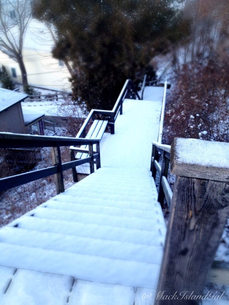 Atop the stairs on East Bluff. I love being the first to make tracks!