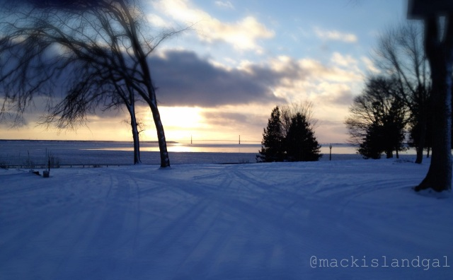 And finally parked at the Mackinac Island Public School. At the end of my day, I find myself looking at this kind of sunset...