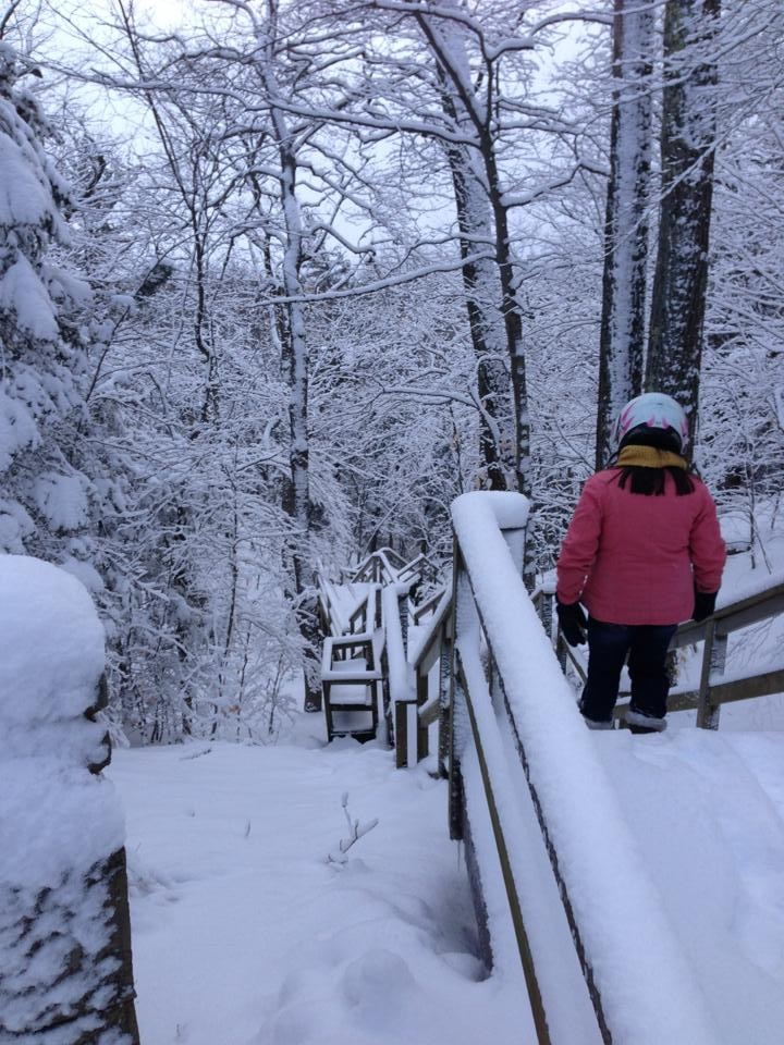 Walking down the 144 steps from Fort Holmes. It helps to have a big pair of gloves and your snowmobile helmet in this kind of weather!
