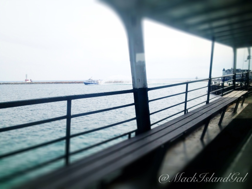 On my last 'slow boat' ride from Mackinac Island, watching Star Line leave their dock.