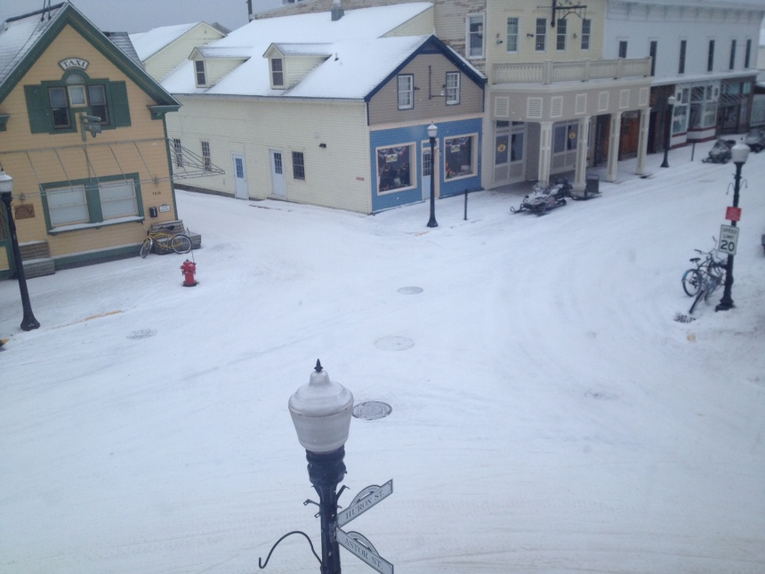 A view of downtown from the 2nd floor of our corner fudge shop