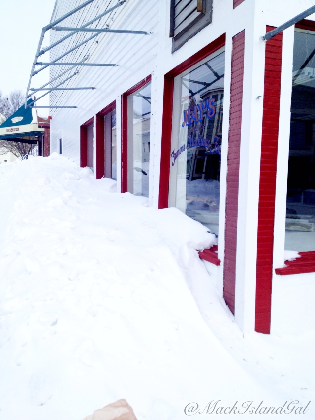 More snow piles... this time by our corner store fudge shop