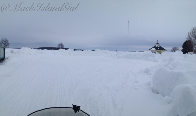 Windermere Park has become a great place to store the snow... can you see the lighthouses?