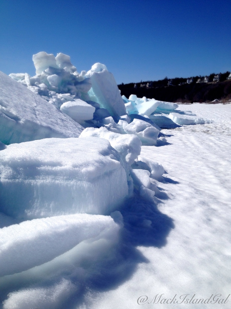 Some ice buildup on the beach outside of the school.
